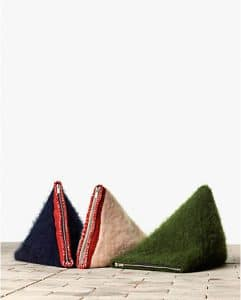 Celine Navy Blue/Powder/Army Green Brushed Mohair Clutch Bags