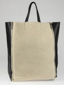 Celine Shearling Vertical Cabas Shopping Tote - Yoogis Closet