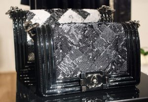 Chanel Black White Striated Boy Flap Bag - Spring Summer 2014