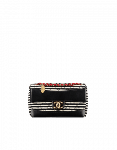 Chanel Black and White Coco Sailor Jersey Flap Bag - Cruise 2014