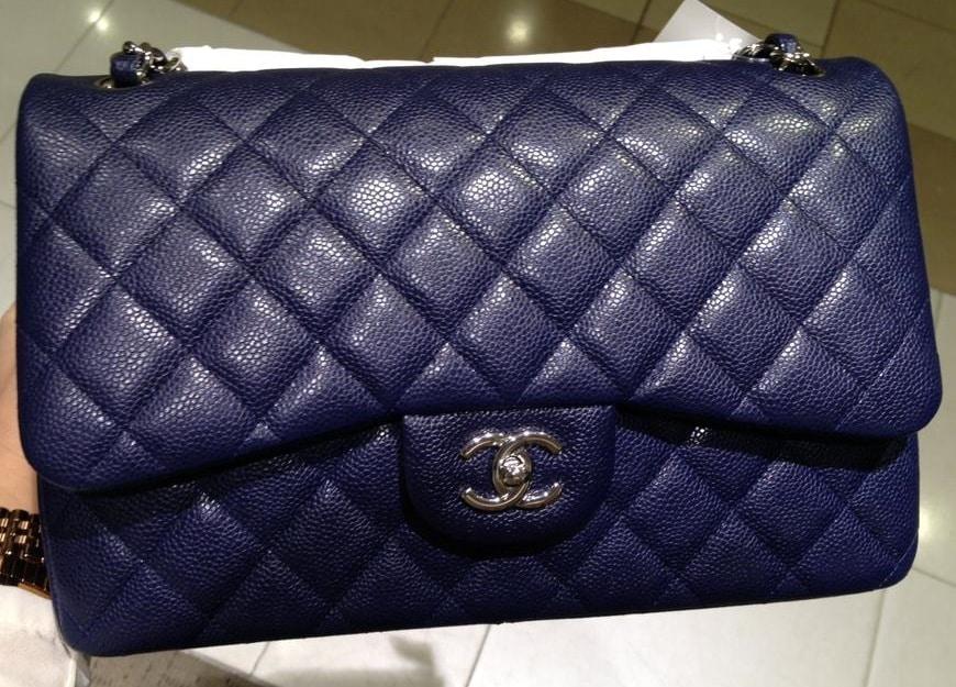 Chanel Blue Classic Flap Jumbo Bag Cruise 2017