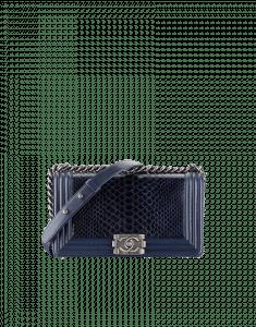Chanel Blue Python with Calfskin Boy Flap Bag