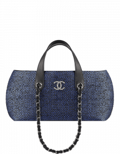 Chanel Dark Navy Straw Bag with Chain - Cruise 2014