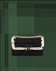 Chanel Fancy Crochet Black Flap Bag - Cruise 2014