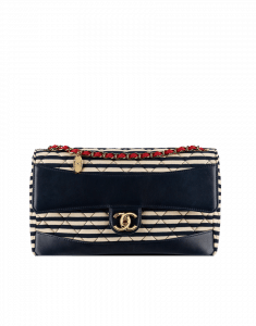 Chanel Navy Coco Sailor Large Jersey Flap Bag - Cruise 2014