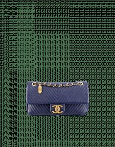 Chanel Navy Herringbone Flap Bag - Cruise 2014