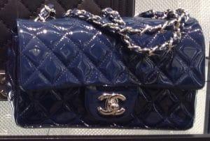 Chanel Navy Patent Classic Flap Mini Bag - Cruise 2014