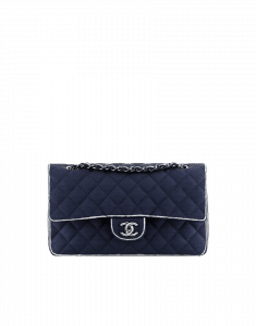Chanel Navy Timeless Classic bag with White Edging - Cruise 2014