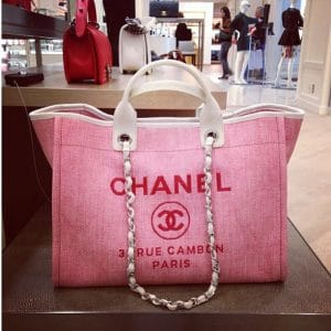 Chanel Pink Deauville Canvas Tote Bag - Cruise 2014