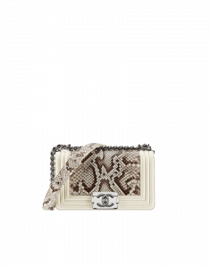 Chanel White Calfskin Python Boy Flap Bag - Cruise 2014