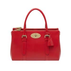 Mulberry Bright Red Shiny Goat Bayswater Double Zip Tote Bag