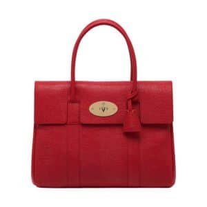 Mulberry Bright Red Textured Lizard Print Bayswater Bag