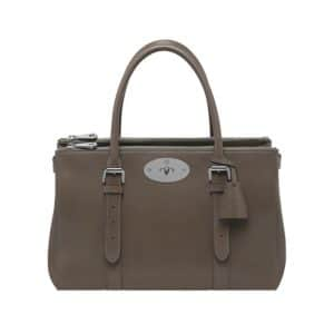 Mulberry Taupe Shiny Goat Bayswater Double Zip Tote Bag