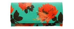 Prada Green Flower Print Saffiano Continental Flap Wallet