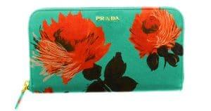 Prada Green Flower Print Saffiano Zip-Around Wallet