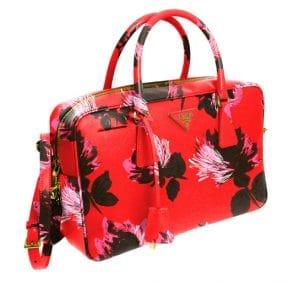 Prada Red Flower Print Saffiano Bag