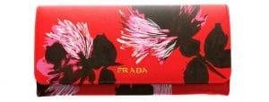 Prada Red Flower Print Saffiano Continental Flap Wallet