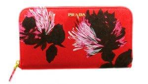 Prada Red Flower Print Saffiano Zip-Around Wallet