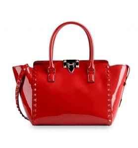Valentino Red Patent Rockstud Double Handle Tote Bag