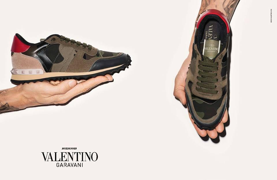 valentino camurock ad campaign featuring rockstud flap bag