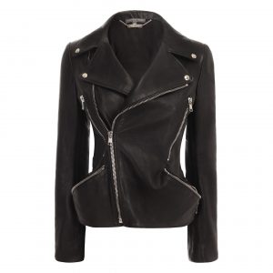 Alexander Mcqueen Leather Jacket with Hip Zippers - Front