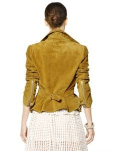 Alexander Mcqueen Suede Leather Jacket Back View - Luisaviaroma