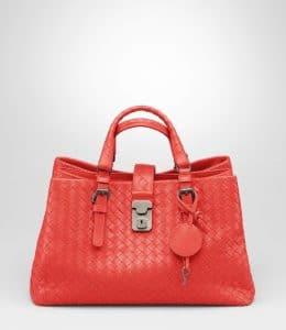 Bottega Veneta New Red Intrecciato Roma Small Bag