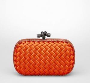 Bottega Veneta Tangerine Intreccio Impero Ayers Knot Clutch Bag