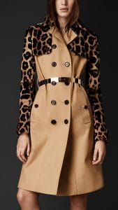 Burberry Prorsum Mink Leopard Print Gabardine Trench Coat - Fall Winter 2013