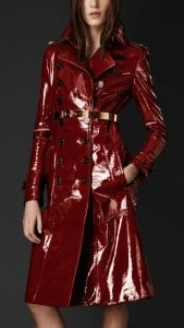 Burberry Red Laminated Trench Coat - Fall Winter 2013