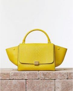 Celine Python Yellow Mimosa Trapeze Bag - Summer 2014