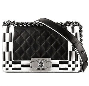 Chanel Black/White Boy Chanel Quilted Flap Medium Bag - Spring 2014 Act I