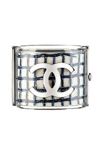 Chanel Clear Blue/White Tweed Bangle - Spring 2014 Act I