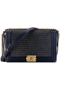 Chanel Navy Blue Boy Chanel Reverso Flap Medium Bag - Spring 2014 Act I
