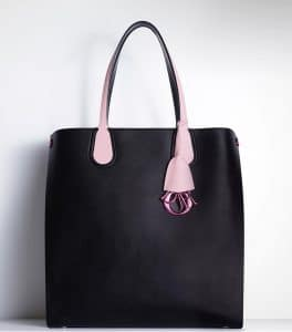Dior Black/Rose Dragee Dior Addict Shopping Tote Vertical Bag