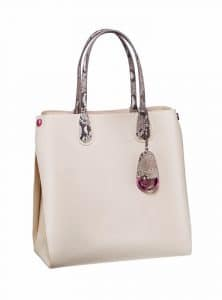 Dior Crema/Roccia Python Dior Addict Shopping Tote Vertical Bag