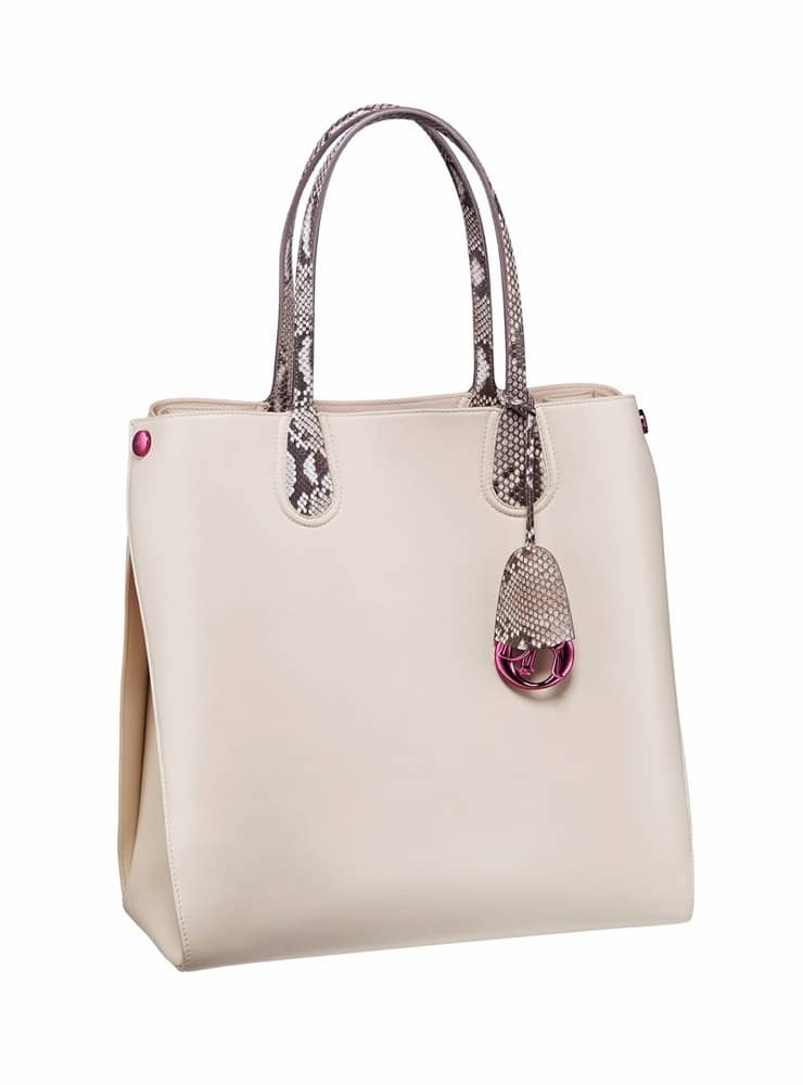 29cf42606 Dior Crema/Roccia Python Dior Addict Shopping Tote Vertical Bag