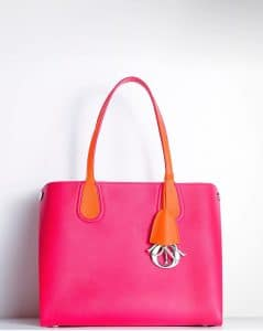 Dior Fuchsia Cosmopolitan/Orange Riviera Dior Addict Shopping Tote Small Bag