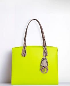 Dior Vert Acide/Roccia Python Dior Addict Shopping Tote Small Bag