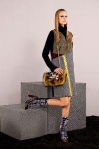 Fendi Black/Yellow Fur Baguette Bag - Pre-Fall 2014
