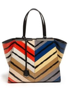 Fendi Multicolor Snakeskin 3Jours Tote Bag