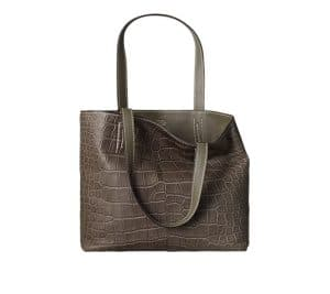 Hermes Green/Gray Double Sens Croco Chiffon 36cm Bag