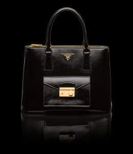 Prada Black Patent Saffiano Lux Tote with Cargo Pocket Bag