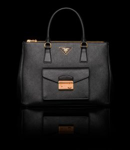 Prada Black Saffiano Lux Tote with Cargo Pocket Bag