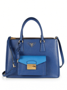 Prada Blue/Turquoise Bi-color Saffiano Lux Tote with Cargo Pocket Bag