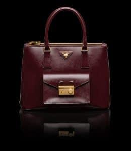 Prada Burgundy Patent Saffiano Lux Tote with Cargo Pocket Bag