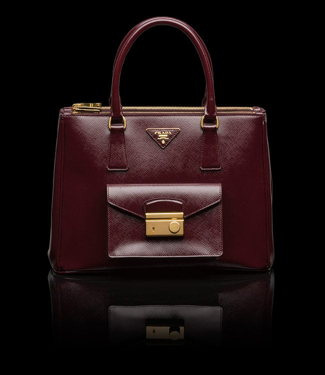 Prada Saffiano Lux Tote with Cargo Pocket Bag Reference Guide ... - Prada tote burgundy