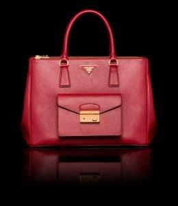 Prada Burgundy Saffiano Lux Tote with Cargo Pocket Bag