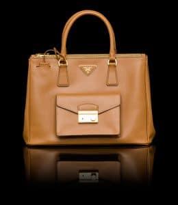 Prada Caramel Saffiano Lux Tote with Cargo Pocket Bag