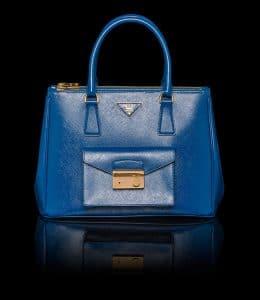 Prada Cobalt Blue Patent Saffiano Lux Tote with Cargo Pocket Bag